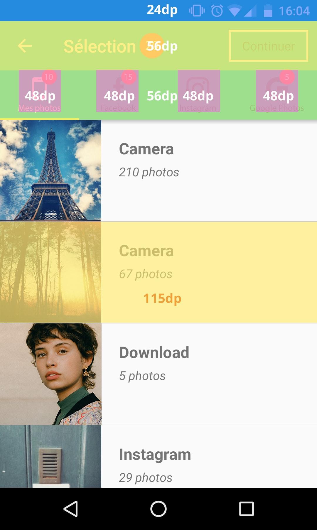 maquette application mobile avec choix de formats + Metrics
